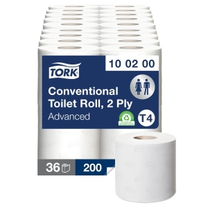 Tork 100200 Conventional Toilet Roll 2 Ply 200 Sheet White - Pack of 36 (4 X 9)