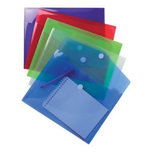 Exacompta PP Envelop Pocket, A4, Hook & Loop - Assorted Colours, Bag of 5