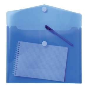 EXACOMPTA PP ENVELOP POCKET, A4, HOOK & LOOP - BLUE, BAG OF 5