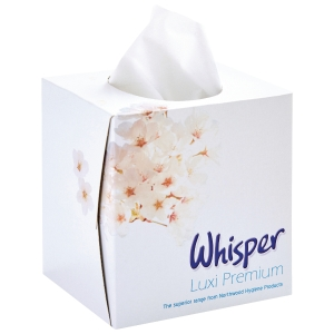 WHISPER LUXI 2 PLY PREMIUM FACIAL TISSUES - BOX OF 70