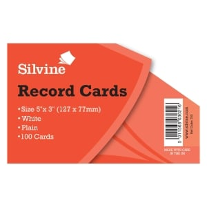 Record Card Plain 5X3 White Pk100
