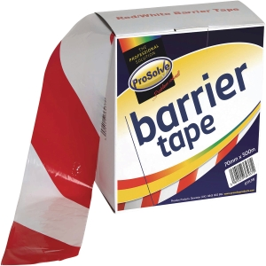 Roll Barrier Zebra Tape Redwhite 70mm 100Mtr Non Adheshive