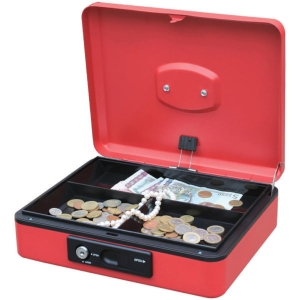 Reskal Cash Box W/Auto Button 250X180X90mm Red