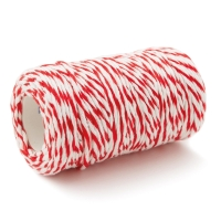 COTTON STRING BALL 3MM X 80METERS WHITE/RED