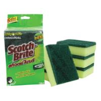 SCOTCH-BRITE SCOURING PAD WITH SPONGE 3X4   - PACK OF 6