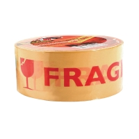 SCOTCH 309P OPP TAPE PRINTED  FRAGILE  SIZE 2  X 54.70 YARDS CORE 3  TAN/RED
