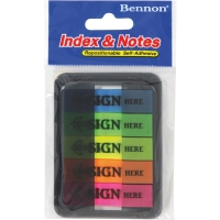 BENNON 06627 SIGN HERE FLAGS 12MM X 45MM ASSORTED COLOURS - 100 FLAGS