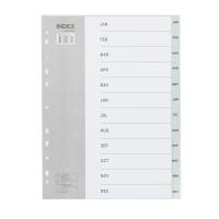 BENNON IX894 PLASTICDIVIDER A4 JAN-DEC GREY