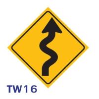 ป้ายจราจร TW16 อลูมิเนียม 45X45 เซนติเมตร