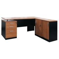 ACURA โต๊ะทำงานไม้ OSCAR เชอรี่/ดำ ขวา