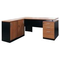 ACURA โต๊ะทำงานไม้ OSCAR เชอรี่/ดำ ซ้าย