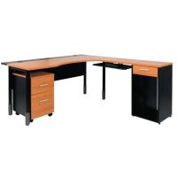 ACURA โต๊ะทำงานไม้ MANAGER SET เชอรี่/ดำ ขวา