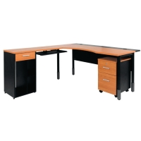 ACURA โต๊ะทำงานไม้ MANAGER SET เชอรี่/ดำ ซ้าย
