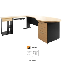 ACURA โต๊ะทำงานไม้ PANEL PLUS เชอรี่/ดำ ขวา