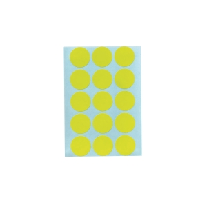 CIRCLE PAPER STICKER 20MM YELLOW PACK OF 90