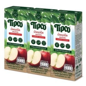 TIPCO น้ำแอปเปิ้ลผสมน้ำองุ่น 100% แพ็ค 3 กล่อง