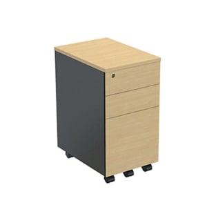 ELEMENTSตู้ลิ้นชักเตี้ยชนิดมีล้อแบบ3ลิ้นชัก รุ่นAPN-33465 35X45X65ซม.เมเปิ้ล/แกร