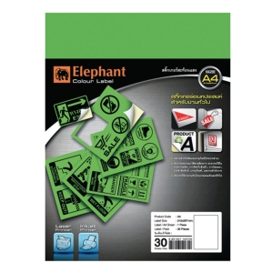 ELEPHANT STICKER LABEL A4 GREEN - PACK OF 30