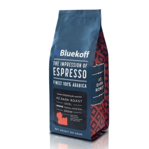 BLUEKOFF ARABICA COFFEE BEAN 100%  A5 DARK ROAST 250 GRAM