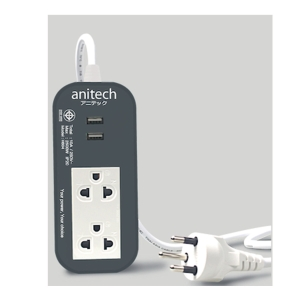 ANITECH H622-GY EXTENSION CABLE 2SOCKETS NO SWITCH WITH 2USB 3 METERS GRAY