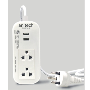 ANITECH H622-WH EXTENSION CABLE 2SOCKETS NO SWITCH WITH 2USB 3 METERS WHITE