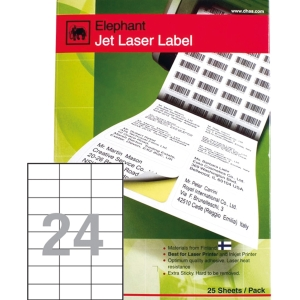 ELEPHANT 18-030 JET LASER LABEL 70MM X 36MM 24 LABELS/SHEET - PACK OF 100