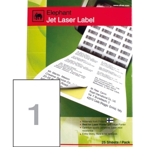 ELEPHANT 18-036 JET LASER LABEL 210MM X 297MM 1 LABELS/SHEET - PACK OF 100