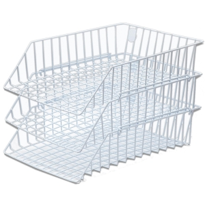 ORCA STACKABLE WIRE LETTER TRAY 3 LEVEL PLASTIC COATED WHITE