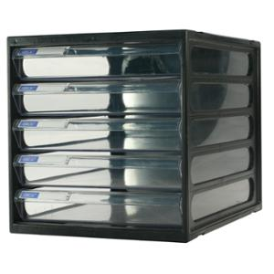 ORCA CFB-5 PLASTIC CABINET 5 DRAWERS BLACK/CLEAR