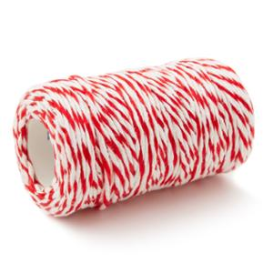 COTTON STRING BALL 3MM X 20METERS WHITE/RED
