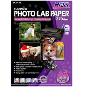 HI-JET PLATINUM PHOTO LAB PAPER A4 270G - PACK OF 10