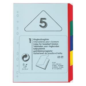 B-BIRD NK59 PLASTIC PAPER DIVIDER INDEX A4 5 TABS 4 COLOURS