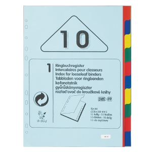 B-BIRD NK10 PLASTIC PAPER DIVIDER INDEX A4 10 TABS 4 COLOURS