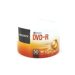 SONY DVD-R 120 MIN 4.7GB 16X SPINDLE BOX OF 50
