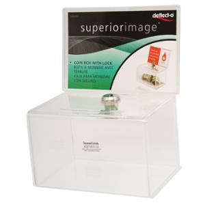 DEFLECT-O 596901-TL COIN BOX WITH LOCK 14.9X10.8X22.2CM CLEAR