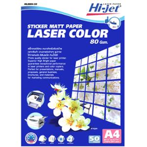 HI-JET LASER COLOR STICKER MATT PAPER A4 80G - PACK OF 50 SHEETS