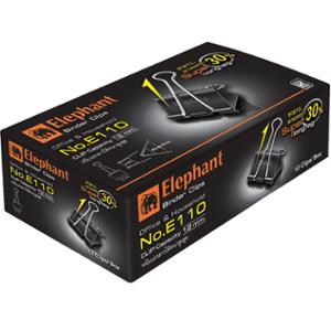 ELEPHANT E110 DOUBLE CLIPS 32MM BLACK - BOX OF 12