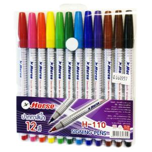 ตราม้า ปากกาหัวสักหลาด H-110 ด้ามปลอก 1.0มม.คละสี แพ็ค 12