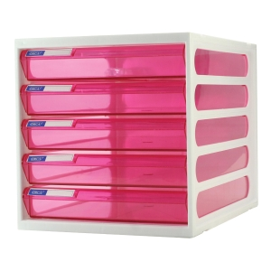 ORCA CFB-5 PLASTIC CABINET 5 DRAWERS WHITE/PINK