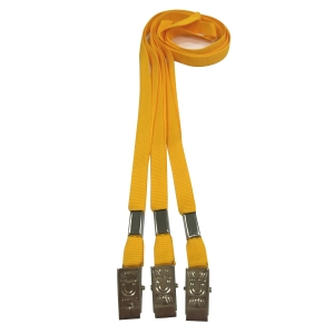 FLAT LANYARD METAL CLIP 86CM YELLOW - PACK OF 10