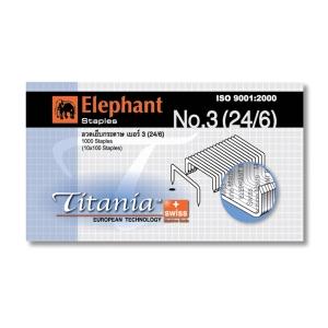 ตราช้าง ลวดเย็บกระดาษ ไททาเนีย 3-1M (24/6) 1000ลวด/กล่อง