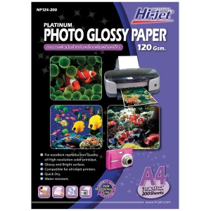 HI-JET PLATINUM GLOSSY PHOTO PAPER A4 120G - PACK OF 200