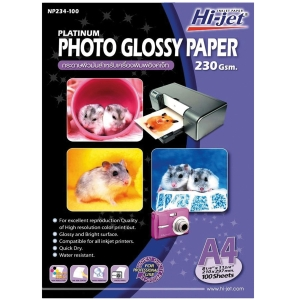 HI-JET PLATINUM GLOSSY PHOTO PAPER A4 230G - PACK OF 100