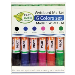 PILOT ปากกาไวท์บอร์ด WBMK-M หัวกลม 2.5มม. แพ็ค 6 คละสี