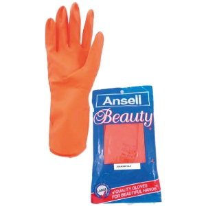 ANSELL BEAUTY GLOVES LATEX PAIR 8 ORANGE