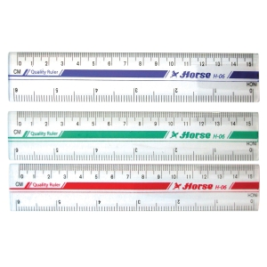 HORSE H-06 PLASTIC RULER 6   ASSORTED COLOURS