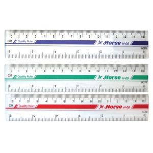 ตราม้า ไม้บรรทัดพลาสติก H-06 ขนาด 6นิ้ว คละสี