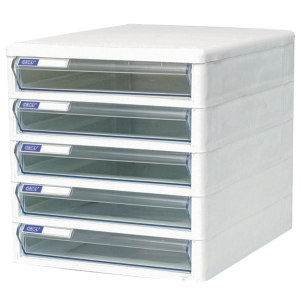 ORCA TCB-5 CABINET 5 DRAWERS WHITE/CLEAR