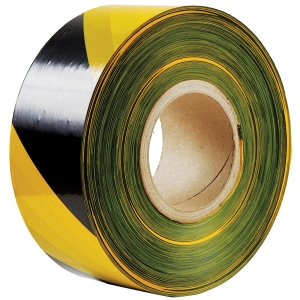 BARRIER TAPE 70 MILIMETRES X 200 METRES YELLOW/BLACK