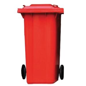 ถังขยะกทม ชนิดฝาเรียบ ความจุ 120ลิตร สีแดง